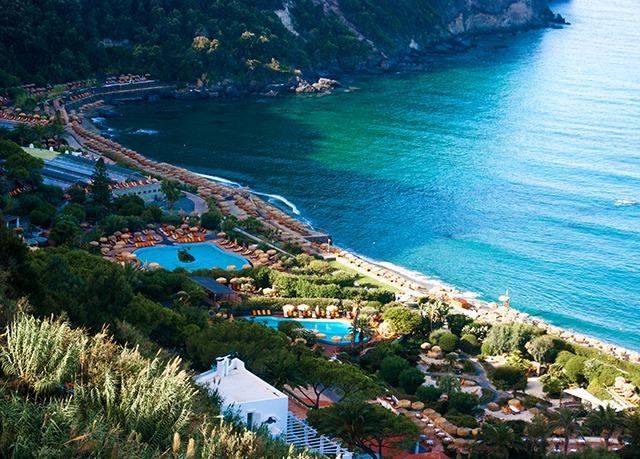 Aerial view to Giardini Poseidon Terme, Ischia, Italy