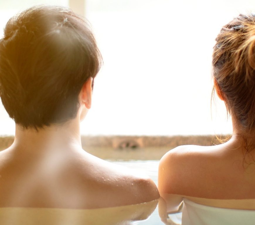 couple in a steamy spa